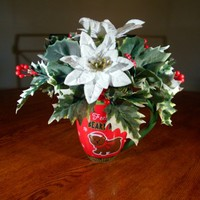 Christmas Floral Arrangment in Teddy Bear Mug (C1) OOAK