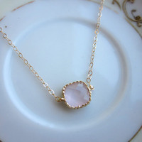 FREE US SHIPPING Dainty Opal Pink Necklace Gold Filled Chain - Bridesmaid Necklace - Wedding Jewelry - Christmas Gift - Gift under 20