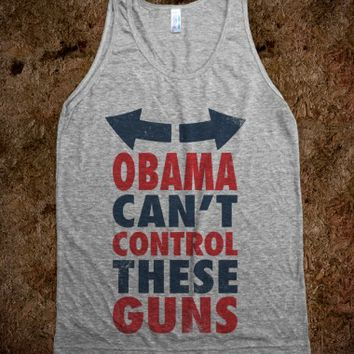 Obama Can't Control These Guns-Unisex Athletic Grey Tank