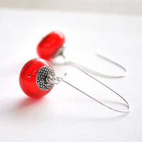 Red Bubble Earrings, Hollow Light Weight Glass, Long Dangle Earrings, Valentine's Day Jewelry