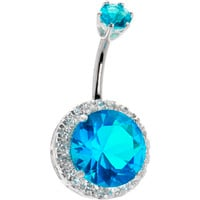 Sterling Silver 925 Passion Aqua Cubic Zirconia JEZEBEL Belly Ring   Body Candy Body Jewelry
