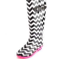 CHEVRON PRINT RAIN BOOT