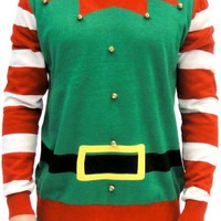 Ugly Christmas Sweater Elf with Bells Adult Green and Red Costume Sweater