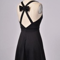 Black A-Line Bow Back Dress