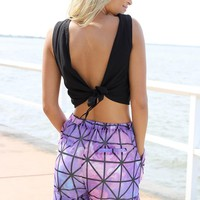 Black Sleeveless Crop Top with Tie Up Detail