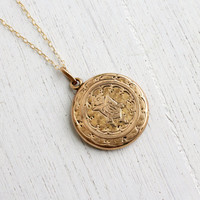 Antique Gold Shell Locket Necklace - Vintage Edwardian Art Deco Era 1900s Monogrammed Filigree Pendant / W&H Co.