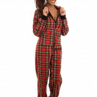 Red Onesuit Pajamas with Zip Up Front