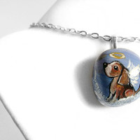Cute Beagle Necklace, Puppy Pendant, Angel Dog Jewelry, Pet Memorial, Beach Stone Painting, Pet Loss Accessory, Blue Sky
