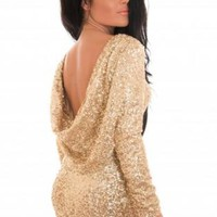 Gold Sequin Long Sleeve Bodycon Dress with Scoop Back