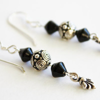 Silver Spirals & Black Czech Bead Earrings, Dainty accessory, Holidays, Gifts under 20.00, Fashion Jewelry, For Her