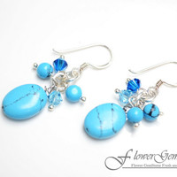 Drop Silver Earring Turquoise Gem Stone with Swarovski Crystal Bead Handmade by Flower GemStone