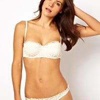 River Island Cream Crochet Balconette Bikini Top