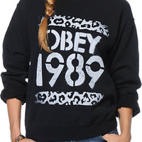 Obey Girls Cheetah Stencil Black Throwback Crew Neck Sweatshirt