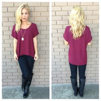 Burgundy Short Sleeve Blouse