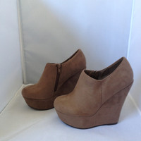 Mocha Suede Zip up Wedges