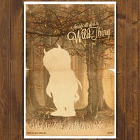 Where the Wild Things Are Movie Poster - Vintage Style Magazine Retro Print Watercolor Background - A3 11.7 x 16.5 in