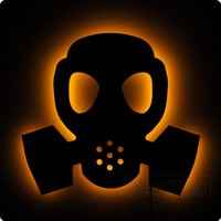 Gas Mask - Illuminated Wall Art and Glow Sign - Punk, Grunge, Fallout, Industrial, Steampunk