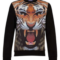 Black Tiger Mesh Printed Sweatshirt - Mens Hoodies & Sweatshirts - Clothing - TOPMAN USA