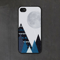 Blue Mountains - Christmas - Geometric Winter Grey Snow Mountain and Moon iPhone 4s Case - iPhone 4 Case