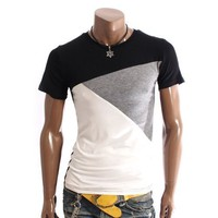 Doublju Mens 3Tone Short Sleeve T-shirt(W57L)