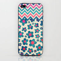 Happy Teal Vintage Daisies on Cream iPhone & iPod Skin by micklyn