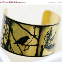 ON SALE Handmade Bird Brass Cuff Bracelet