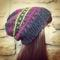 Hand Knit Hat Womens Chunky Slouchy Ski Hat - Charcoal Golden Olive and Magenta