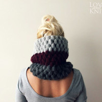 Cowl- Burgundy/Grey