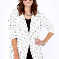 Nubby Checker Black and White Checkered Jacket