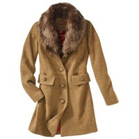 Merona® Women's Faux Fur Collar Luxe Coat -Gold