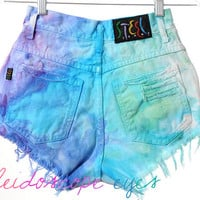 Vintage COLORFUL Marbled Dyed Denim Destroyed High Waist Cut Off Shorts XS