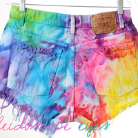 Vintage Levis RAINBOW Marbled Dyed Denim Destroyed High Waist Cut Off Shorts L