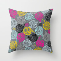 Yarn Yarn Yarn Yarn Yarn Throw Pillow by Beth Thompson
