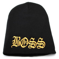 King Ice BOSS Black Beanie
