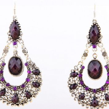 ⚡ Swarovski Crystal Earrings Purple & Silver
