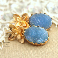 Blue aqua Druzy Gold hook earrings,gift for her- 14k Gold filled Crown Lace setting gemstone jewelry.