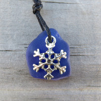 Cobalt Blue Snowflake Sea Glass Necklace by Wave of Life