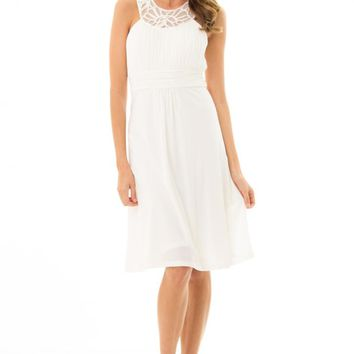 JD292White pretty dress with stunning jeweled neckline