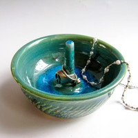 Green & Turquoise Ceramic Ring Holder - Medium Pottery Jewelry Dish with Melted Glass