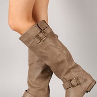 Wild Diva Lounge Tosca-74 Buckle Riding Knee High Boot