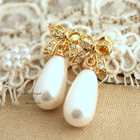 Gold shiny Bow White pearl earrings Bridal jewelry,Trendy jewelry - 14K Gold plated earrings with white Majorica perfect white pearls.