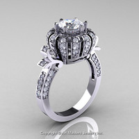 Classic Yeva 14K White Gold 1.0 CT Cubic Zirconia Diamond Crown Solitaire Bridal Ring Y303C-14WGDCZ