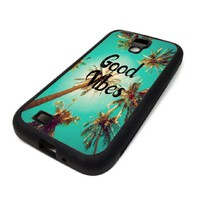 Samsung Galaxy S4 SIV Case Cover Good Vibes Sunshine Palm Trees Teal DESIGN BLACK RUBBER SILICONE Teen Gift Vintage Hipster Fashion Design Art Print Cell Phone Accessories