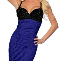Sexy Clubwear Evening Mini Dress W Sequins Push Up Bra