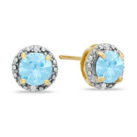 6.0mm Lab-Created Aquamarine and Diamond Accent Frame Stud Earrings in 10K Gold