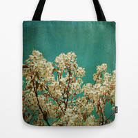 White Blossoms on Teal Blue Green Tote Bag by Brooke Ryan Photography