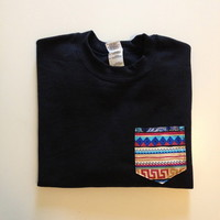 Unisex Custom Patch Pocket Crew Neck Sweatshirt- Blue Aztec Print from EEHCUOY