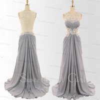 Charming Chiffon Floor-Length Lace Prom Dress,Evening Dress