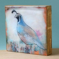 Limited Edition Mini Panel - Quail Contemplating the Future