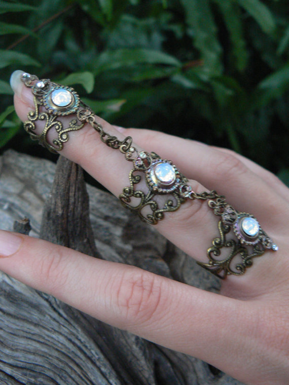 armor ring triple chained ring nail ring from Gilded in Gypsy eea6c1188a